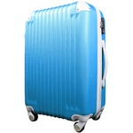 スーツケース/キャリーバッグ 【Sサイズ/小型1~3日】 機内可(機内持ち込み) TSA搭載 軽量 ファスナー ブルー(青)×ホワイト(白)