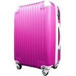 スーツケース/キャリーバッグ 【Mサイズ/中型4~6日】 TSA搭載 軽量 ファスナー ショッキングピンク×ホワイト(白)