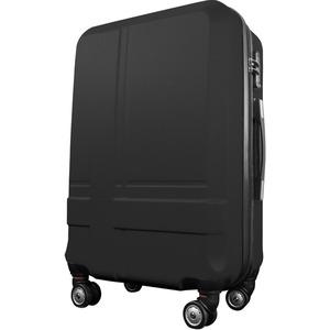 超軽量・大容量スーツケース/キャリーバッグ 【L/大型7-14日用】 TSA ダブルファスナー 8輪 頑丈 ブラック 『cross』