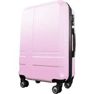 超軽量・大容量スーツケース/キャリーバッグ 【L/大型7-14日用】 TSA ダブルファスナー 8輪 頑丈 ピンク 『cross』