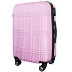 超軽量・大容量スーツケース/キャリーバッグ 【S/小型1-3日】 TSA ダブルファスナー 8輪 頑丈 ピンク 『check』
