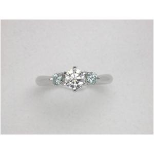PT900(プラチナ) ホワイトダイヤ&アイスブルーダイヤリング 11号 0.7ctの写真1