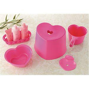 ハート 風呂イス 5点セット ピンク 【6個セット】