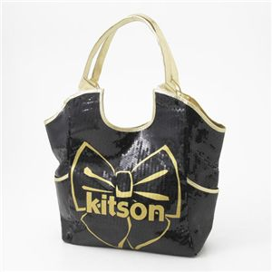 kitson(キットソン) スパンコールバッグ リボンプリント SEQUIN BOW TOTE 3385 BLACK