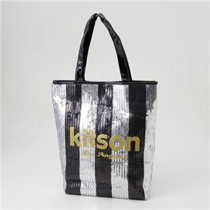 kitson(キットソン) スパンコール 縦型トートバッグ 3790 BLACK/SILVER ストライプ