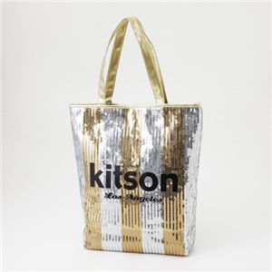 kitson(キットソン) スパンコール 縦型トートバッグ 3789 GOLD/SILVER ストライプ
