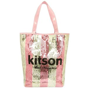 kitson(キットソン) スパンコール 縦型トートバッグ 3787 PINK/SILVER ストライプ