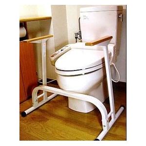 【トイレからの立ち上がりをサポート】トイレ用手すり 置くだけタイプ(工事不要)T-101 ホワイト 抗菌粉砕塗装 - 拡大画像