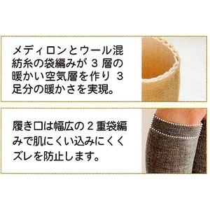 婦人2重袋網みハイソックス2足組 M(22~24cm) グレー h02