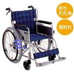 【消費税非課税】自走介助式 車椅子 ABA-01 座幅42cm ブラウンチエック