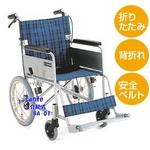 【消費税非課税】介助式 アルミ車椅子 BA-01 座幅38cm 赤チエック【送料無料】