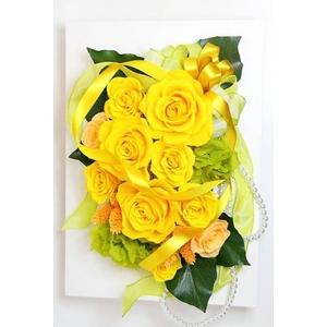 薔薇(バラ)を使ったプリザーブドフラワー フレームアレンジ【メイリアイエロー】全高300mm