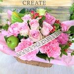 幸せの贈り物★バラのフラワーアレンジメント ピンク系の画像