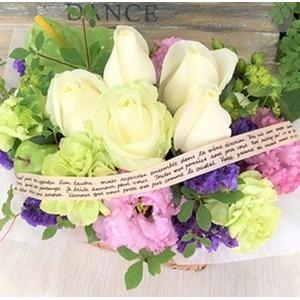 幸せの贈り物★バラのフラワーアレンジメント ホワイト+パープル系の画像1