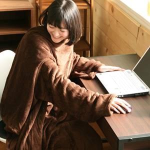 着るふわふわルームブランケット マイクロファイバー ブラウン - 拡大画像