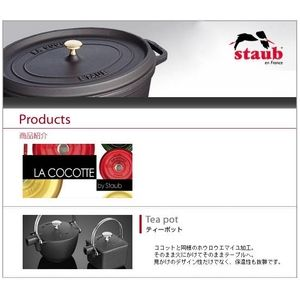 staub(ストウブ) ティーポット角型ブラック 1650123(0.75リットル)