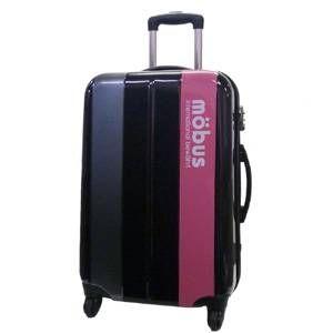 mobus(モーブス) ジッパーハードキャリー 4輪 ブラック/ピンク 71992 スーツケースTSAロック付き