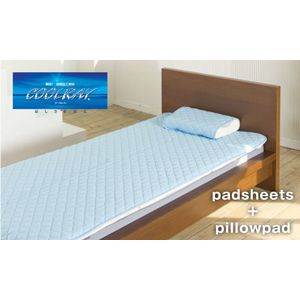 クールレイ(R) パッドシーツ + 枕パッド ダブル ブルー 綿100% 日本製 - 拡大画像