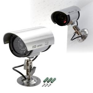 防犯ダミーカメラ LEDランプ付き 電池式 首振り角度調整可 (防犯対策) - 拡大画像