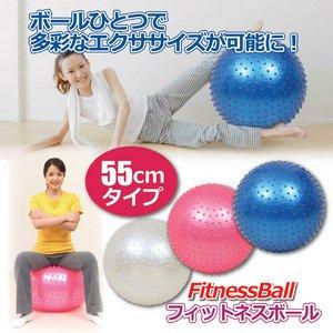 フィットネスボール 【ブルー(青)】直径約55cm エアーポンプ/ピン付き - 拡大画像