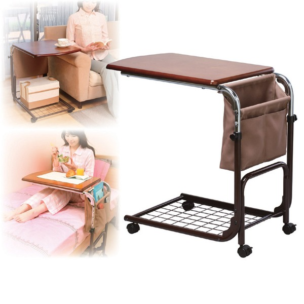 ニューマルチサイドテーブル 高さ5段階調節可 布ポケット/収納棚/キャスター付き