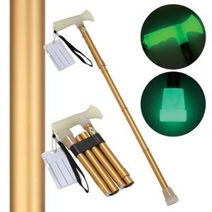 折たたみ式ステッキ杖ぼたる【ゴールド(金)】蓄光タイプ長さ5段階調節可