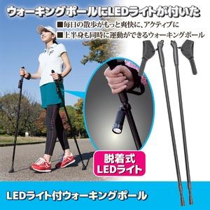 LEDライト付ウォーキングポール 長さ調整可 専用収納袋付き