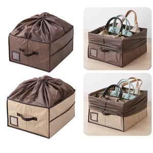 バッグ(鞄)収納ボックス 除湿&消臭マット/仕切り板2枚/フタ付き ベージュ
