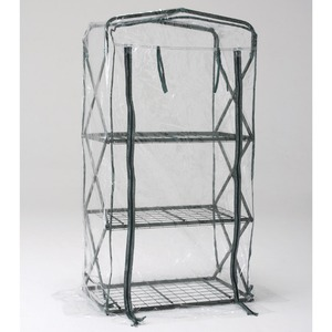 折りたたみ式家庭用簡易温室(フラワースタンド) 前面ジッパー開き 透明カバー 〔ガーデニング 庭いじり 園芸〕