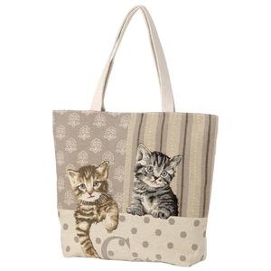 ゴブラン猫柄トートバッグ ネコ2匹タイプ - 拡大画像