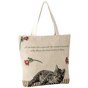ゴブラン猫柄トートバッグ ネコ1匹タイプ - 拡大画像