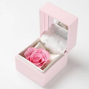 """メッセージ・プリザーブド★プチローザ(ピンク色BOX)★""""Happy Wedding"""" - 拡大画像"""