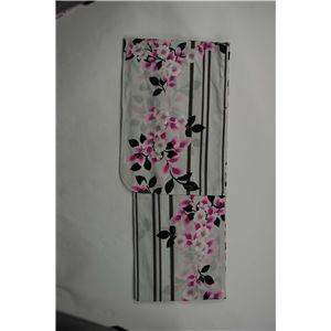 変り織婦人浴衣 縦縞に桜柄 白地にピンク
