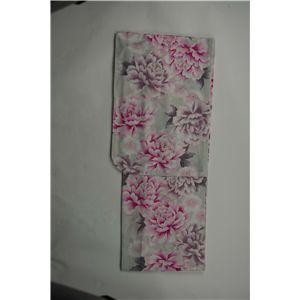 変り織婦人浴衣 牡丹ざかり柄 白地にピンク