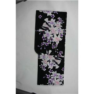 変り織婦人浴衣 古典百合柄 黒地に紫