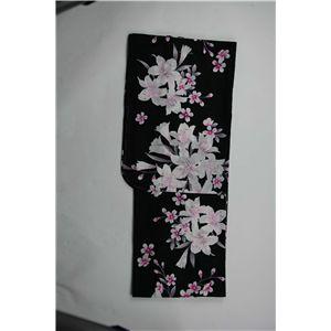変り織婦人浴衣 古典百合柄 黒地にピンク