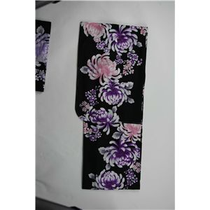 変り織婦人浴衣 流水乱菊柄 黒地に紫