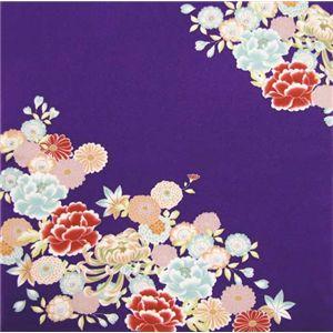 友禅縮緬風呂敷二巾 古典花 紫