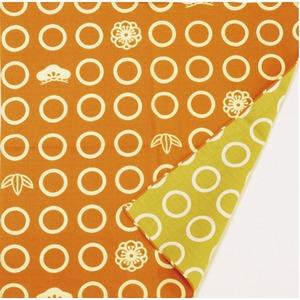 両面小風呂敷 丸柄 オレンジ/黄緑
