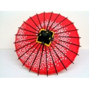 ミニ和傘 桜柄 エンジ - 拡大画像
