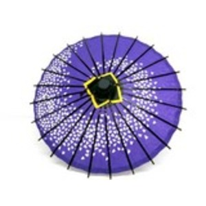 ミニ和傘 桜柄 紫 - 拡大画像