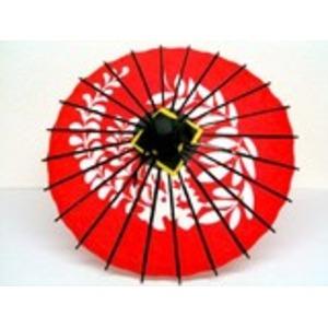 ミニ和傘 フジ柄 エンジ