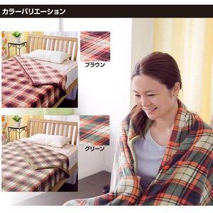 ぽかぽか温感加工マイクロファイバー毛布 チェック柄 ブラウン【2枚セット】