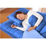 マットレス付きふかふか増量羽根布団寝具 7点セット シングルサイズ ディープブルー×ライトブルー  税込:9,990円