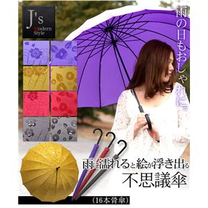 J's Modern Style 雨に濡れると絵が浮き出る不思議傘 (16本骨傘) エンジ 椿 - 拡大画像