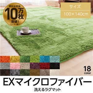 E×マイクロファイバー洗えるラグマット (100×140cm) モスグリーン