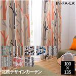 IN-FA-LA 北欧デザインカーテンシリーズ(TEIJA BRUHN)FOREST 遮光カーテン2枚組(遮熱・保温・形状記憶) 100×135cm オレンジ