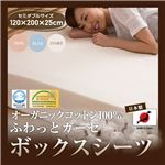 日本製 オーガニックコットン100% ふわっとガーゼボックスシーツ(GOTS認証オーガニックコットン使用) セミダブル ブルー