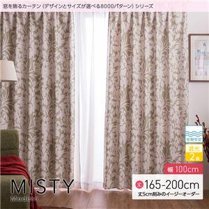 窓を飾るカーテン(デザインとサイズが選べる8000パターン)モダン MISTY(ミスティ) 遮光2級 形態安定 (AL) 幅100cm×丈180cm(2枚組) ベージュ - 拡大画像