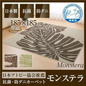 国産デザインラグマット(抗菌・防ダニ・アトピー協会推奨カーペット)モンステラ 185×185cm グリーンの詳細を見る
